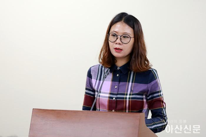 김미영 의원이 복지환경위원회에서 조례 취지를 설명하고 있다.JPG