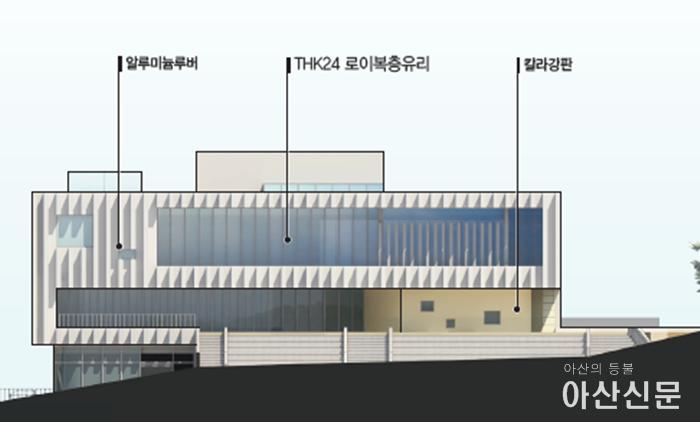 4-1. 아산시 음봉 공공도서관, 건축설계공모 당선작 확정  입면(남측면도).PNG